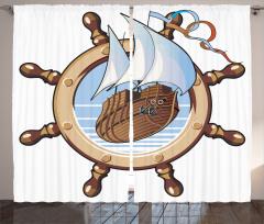 Ships Wheel Sailing Curtain
