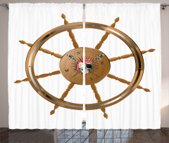 Pirate Sea Ship Wheel Curtain