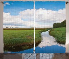 Calm River Meadow Trees Curtain