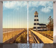 Lighthouse Sea Waves Curtain