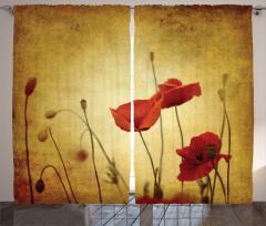 Poppy Flowers Bohemian Curtain