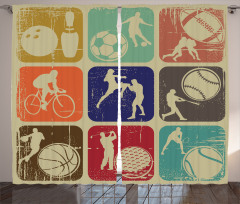 Grunge Sports Banners Curtain