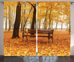 Misty Autumn Park Rustic Curtain