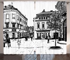Retro Street Sketch Art Curtain