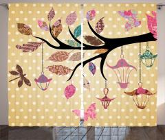 Vintage Boho Cute Tree Curtain