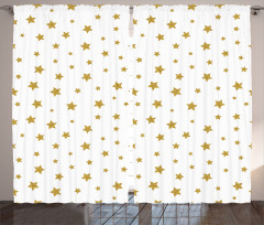 Yellow Stars Pattern Curtain