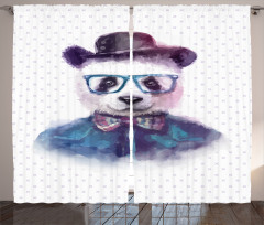 Hipster Panda with Tie Curtain