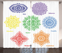Colorful Chakra Symbol Curtain