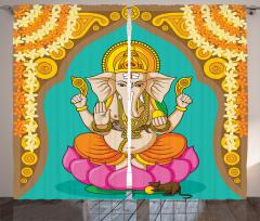 Elephant Lord Oriental Curtain