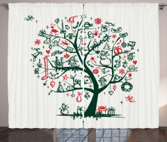 Tree Ornaments Gifts Curtain