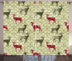 Damask Kitsch Pattern Curtain