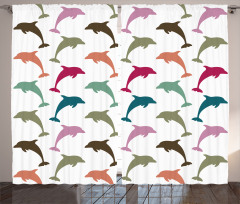 Colorful Dolphins Art Curtain
