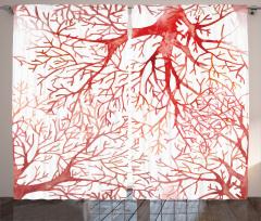 Watercolor Branchs Fall Curtain