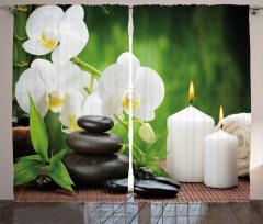Romantic Zen Stone Orchids Curtain