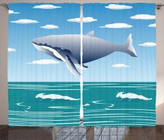 Cartoon Ocean Whale Curtain