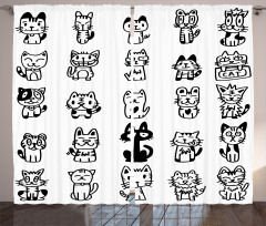 Cats with Happy Faces Curtain