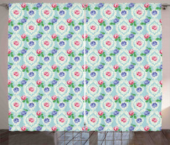 Baroque Colored Roses Curtain