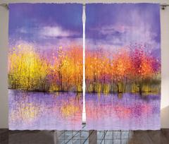 Fall Season Trees River Curtain