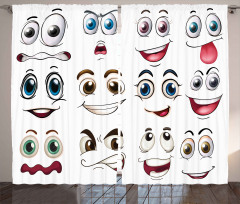 Hand Drawn Emoji Faces Curtain