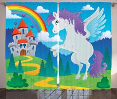 Unicorn with Rainbow Fairy Curtain