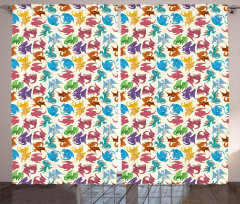 Children Pattern Colored Curtain