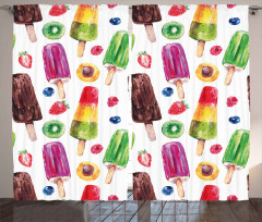 Cute Vivid Ice Creams Curtain