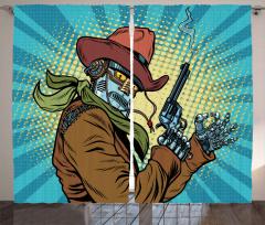 Western Style Robot Cowboy Curtain