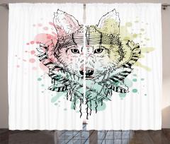 Wild Tribe Animal Wolf Curtain