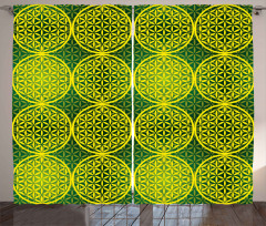 Vivid Flower of Life Curtain