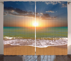 Idyllic Beach Scenery Curtain