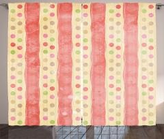 Nostalgic Stripes Dots Curtain