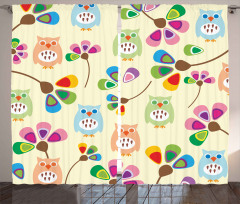 Owls Flowers Kids Room Curtain