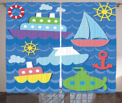 Colorful Nautical Objects Curtain