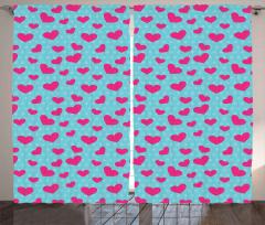 Pink Heart on Polka Dots Curtain