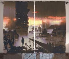 Sci-Fi Empty City Robot Curtain