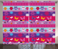Cartoon Owls and Flowers Curtain
