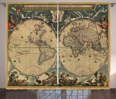 Old Map Ancient World Curtain