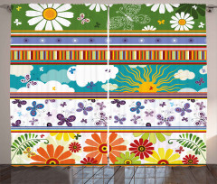 Vivid Daisies Sun Kids Curtain