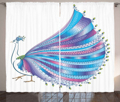 Stylized Peacock Feather Curtain
