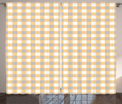 Checkered Shabby Old Curtain