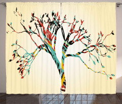 Abstract Colorful Tree Curtain