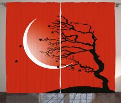 Digital Scene Tree Moon Curtain