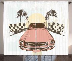Retro Auto Sport Palms Curtain