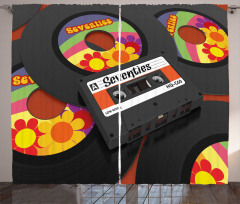 Cassette Vinyl 70s Curtain