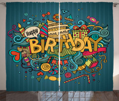 Doodle Happy Celebration Curtain