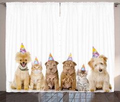 Dogs Cats at a Party Curtain