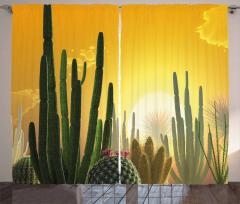 Sunset Desert Ecology Curtain