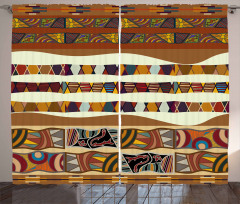 Boho African Folk Icons Curtain
