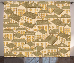 Village Town Houses Roofs Curtain