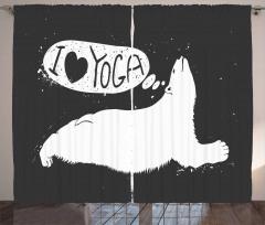 Yoga Cute Polar Bear Grunge Print 2 Panel Window Drapes